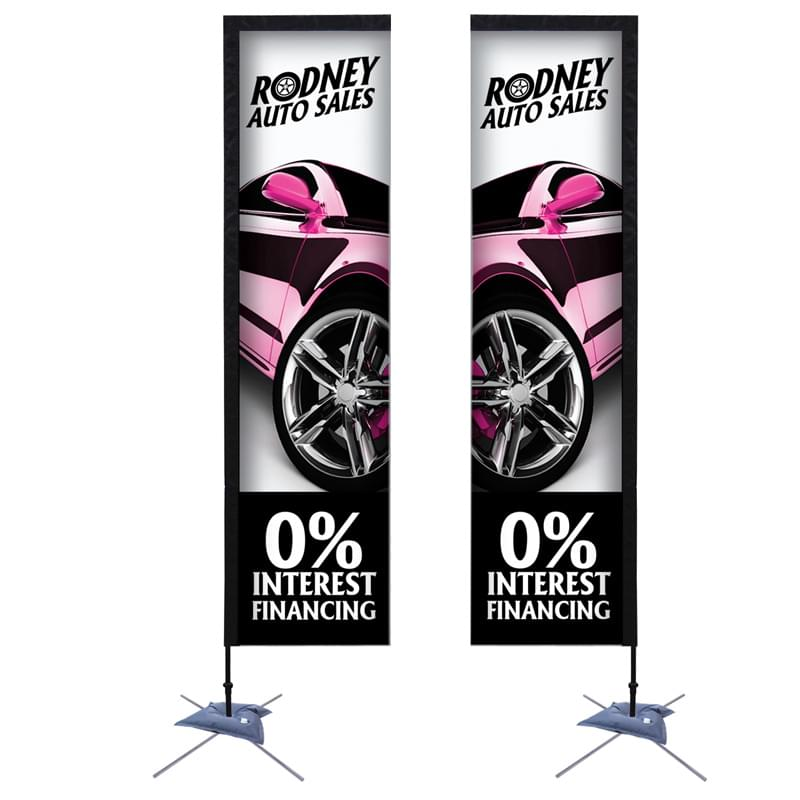 10' Premium Rectangle Sail Sign, 2-Sided, Scissor Base