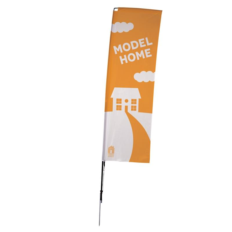 10' Streamline Rectangle Sail Sign, 1-Sided, Ground Spike