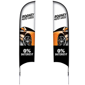 13' Premium Razor Sail Sign, 2-Sided, Ground Spike