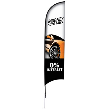 13' Premium Razor Sail Sign, 1-Sided, Ground Spike