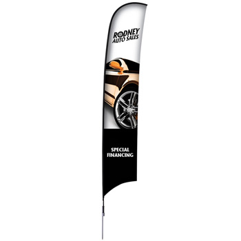 17' Premium Razor Sail Sign, 1-Sided, Ground Spike