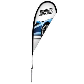 8' Premium Teardrop Sail Sign, 1-Sided, Ground Spike