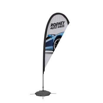 8' Premium Teardrop Sail Sign, 1-Sided, Scissor Base