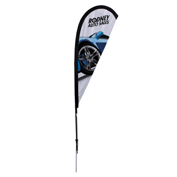 6' Premium Teardrop Sail Sign, 1-Sided, Ground Spike