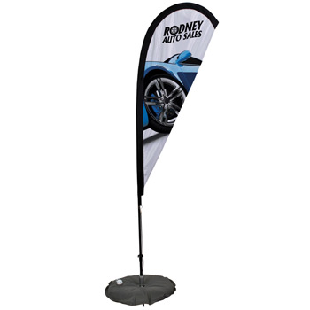 6' Premium Teardrop Sail Sign, 1-Sided, Scissor Base