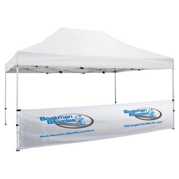 15 Foot Wide Tent Half Wall and Deluxe Stabilizer Bar Kit - White Only (Full-Color Thermal Imprint)