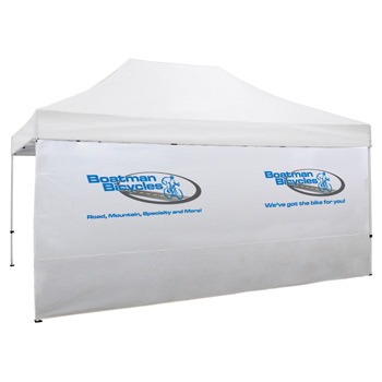 15 Foot Wide Tent Full Wall with Zipper Ends - White Only (Full-Color Thermal Imprint)
