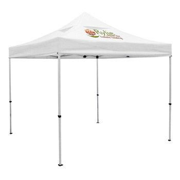 Premium 10 x 10 Event Tent Kit with Vented Canopy (Full-Color Thermal Imprint, 1 Location)Soft Case with Wheels and Stak