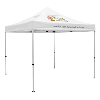 Premium 10 x 10 Event Tent Kit with Vented Canopy (Full-Color Thermal Imprint, 2 Locations)Soft Case with Wheels and Sta