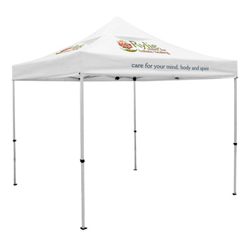 Premium 10 x 10 Event Tent Kit with Vented Canopy (Full-Color Thermal Imprint, 3 Locations)Soft Case with Wheels and Sta