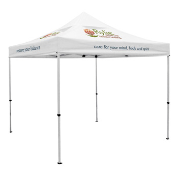 Premium 10 x 10 Event Tent Kit with Vented Canopy (Full-Color Thermal Imprint, 5 Locations)Soft Case with Wheels and Sta