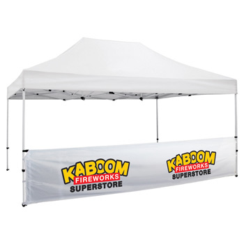 15 Foot Wide Tent Half Wall and Premium Stabilizer Bar Kit - White Only (Full-Color Thermal Imprint)