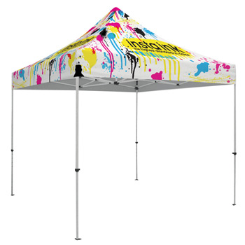 48 Hour Quick Ship Standard 10' Tent (Full-Color, Full Bleed Dye-Sublimation)Soft Case with Wheels and Stake Kit is incl